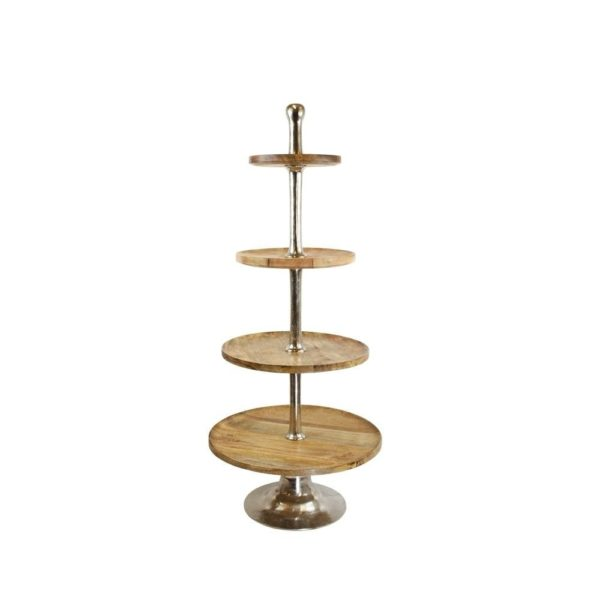 Serving Stand Wood Round 4 Tiers 120cm Aluminum / wood - LifeDeals