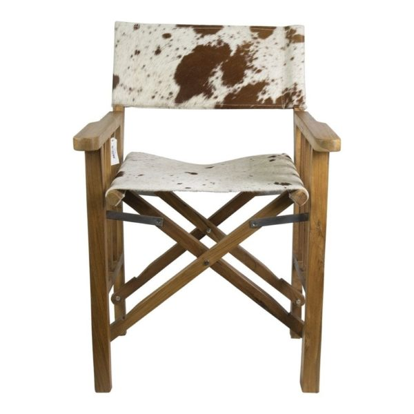 Directors Chair Teak Cow Leather (bos Taurus Taurus) wood / leather - LifeDeals