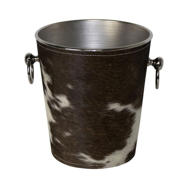 Champagne Cooler Cow Brown/white leather / aluminum - LifeDeals