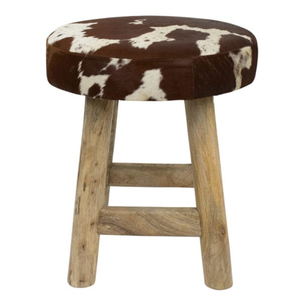 Stool Chalet Cow Red Brown Round (bos Taurus Taurus) leather/wood - LifeDeals