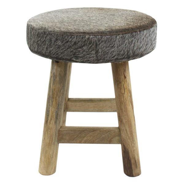 Stool Chalet Cow Grey Round (bos Taurus Taurus) leather/wood - LifeDeals