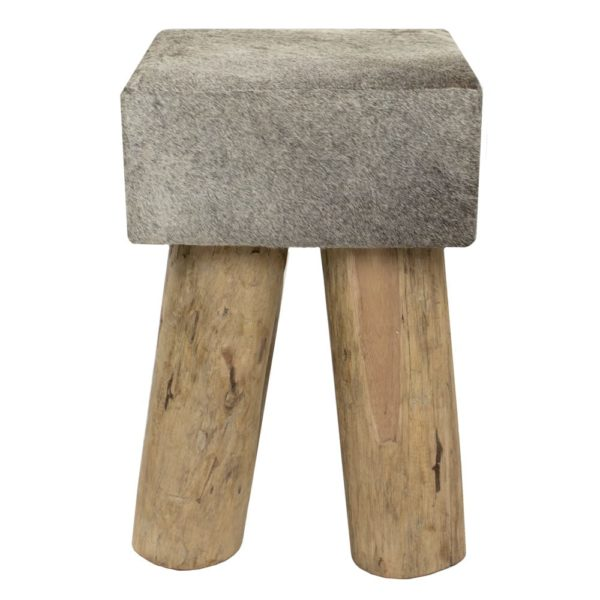 Stool Cow Grey Square (bos Taurus Taurus) leather/wood - LifeDeals