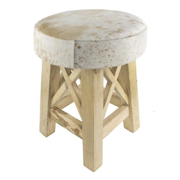 Stool X Cow Red Brown Round (bos Taurus Taurus) leather / wood - LifeDeals
