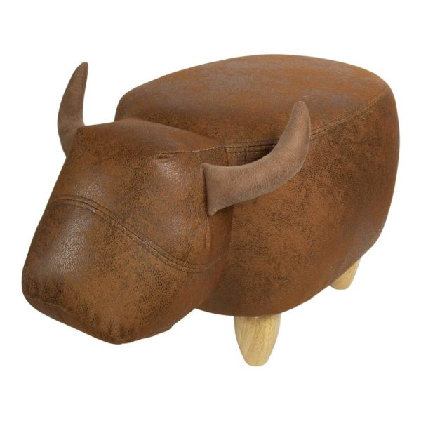 Stool Bull artificial leather / wood - LifeDeals
