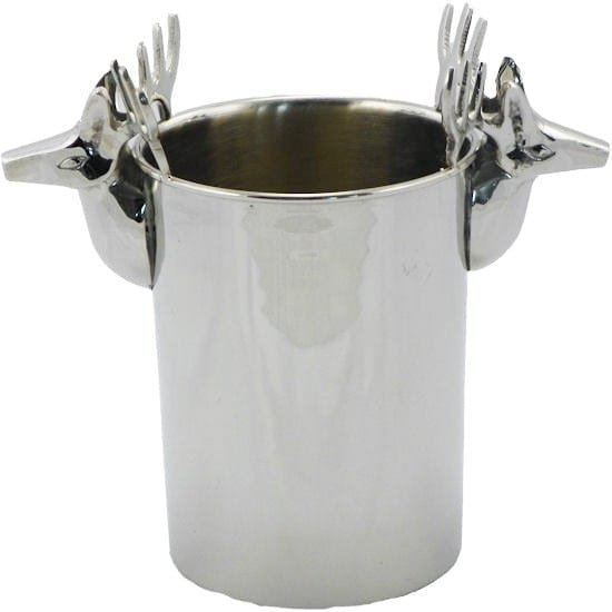 Champagne Cooler Deer silver on brass - LifeDeals
