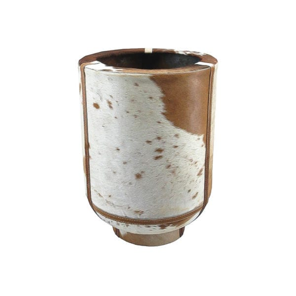 Planter Cow On Stand Brown/white 35cm Leather - LifeDeals