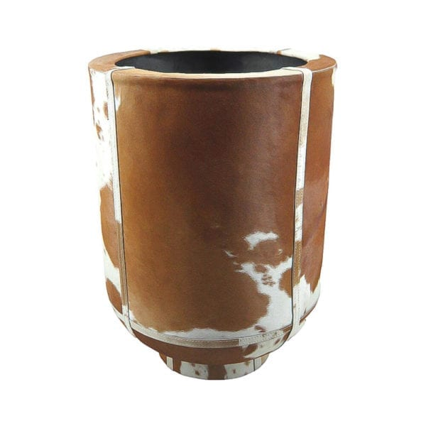 Planter Cow On Stand Brown/white 46cm leather - LifeDeals