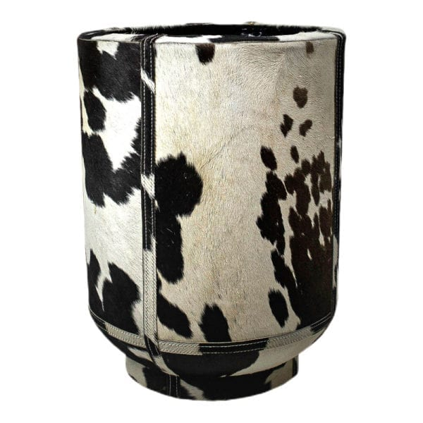 Planter Cow On Stand Black/white 46cm Leather / metal - LifeDeals